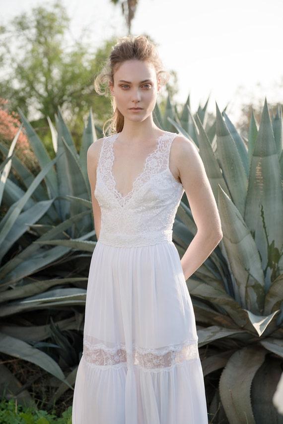 Lace wedding dress romantic wedding dress boho wedding for Best etsy wedding dress shops
