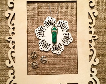 Malachite Crystal Necklace - Silver/Gold