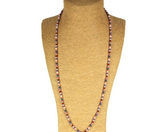 Red Tassel Long Necklace / Sautoir à pompon rouge - Colorful Bright beads / Perles multicolores brillantes