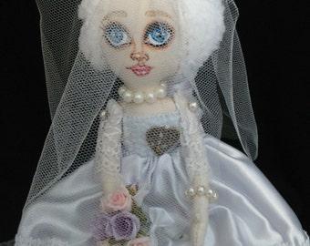 OOAK rag doll Lucky. Handmade Art Cloth Doll. Art rag doll for decoration. Collectible Doll.