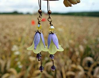 Flower Earrings - Fairy Earrings - Floral Earrings - Yellow Earrings - Bohemian Earrings - Amethyst Earrings - Dangle Drop Earrings - Purple