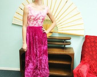 Vintage 60s Velvet Dress/ I Dream of Jeannie// BubbleGum Pink Velvet Blocked Dress/ Size Xs