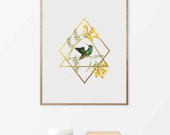 Humming Birds, Printable Art, Poster, Prints, Wall Art, Digital Art, Home Decor, Instant Download, botanical Art Prints, Bedroom Decor, Art.