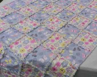 """GIRL & DOLL Matching Rag Quilts (36""""x48"""") Pink, Yellow, Grey Butterflies and Flowers-Free Shipping"""