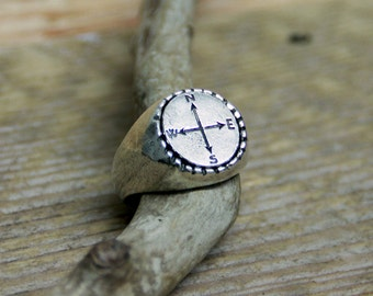 Silver plated Compass ring