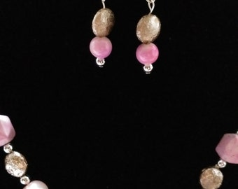 Pretty in Pink- Necklace with Matching Earrings  #10