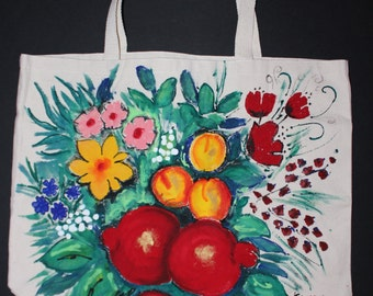 Hand painted bag,Groceries Tote Bag Large,Heavyweight Canvas Bag,Fruits pomegranates flowers,Back pockets,Batik,Armenian art,Armeninag gift