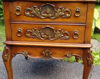 French Provincial Marble side table  French Country   Italian Country    2 drawers