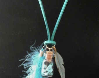 Message in bottle Turquoise glass pendant and feathers, Message pendant, Boho Gift for her