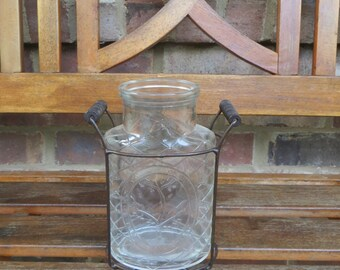 Vintage flower vase with stand, Glass flower jar with wire rack