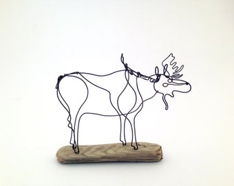 Small Moose - animal wire sculpture