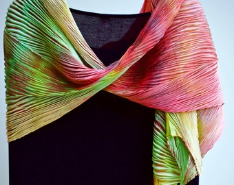 The Lesson of the Rooster - Arashi Shibori Hand Dyed & Hand Pleated Habotai Silk Shawl/Scarf