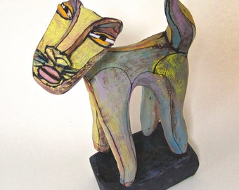 "Cat Sculpture, Art, Rainbow Cat Standing in the Grass, 7-3/8"" tall x 5"" wide"