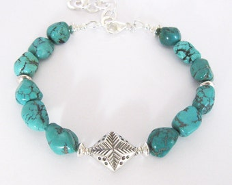 Turquoise Gemstone Bracelet, Sterling Silver Star Bead, Blue Green Turquoise Nuggets
