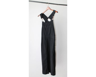 1990's David Dart Black Cotton Overalls Suspenders