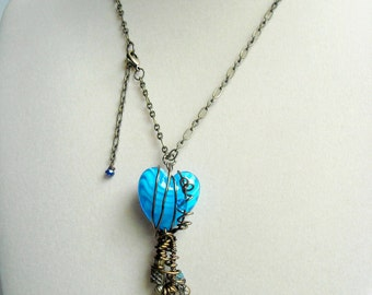 Steampunk Gadget Captured Blue Heart Pendant Necklace
