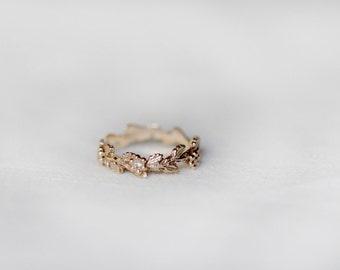 Unique Diamond Leaf Engagement Ring, Leaf Wedding Band, Gold Leaves Diamond Engagement Ring, Bohemian 14k Leaf Flower Bud Wedding Band