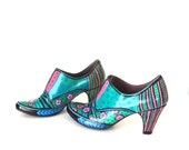 Unique Handpainted Shoes, Green Pink Blue Black, Artsy Shoes, Very Gently Worn, RESERVED for CJS