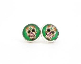 Green Sugar Skull Earrings, Sugar Skull Jewelry, Skull Earrings, Green Earrings, Colorful Skull Earrings, Day of the Dead Jewelry, Skeleton
