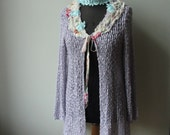 Lavender Purple Long Cardigan, Tattered Sweater, Mori Girl Top, Shabby Chic Clothing, Upcycled Sweater, Mori Girl Cardigan, Purple Sweater
