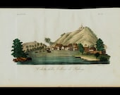 1823 Antique print of EXOTIC VIEWS from Padang hill,  Sumatra in Indonesia. Lansdcape, fine hand colored engraving 193 years old