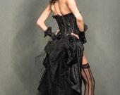 Black  Swan, Steampunk, Goth, Edwardian,Pirate, Masquerade, Vampire, Tribal Fusion, Bustle with Belt Loops