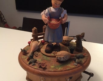 Anri Hand Carved Music Box/ Made in Swizerland/ Never on Sunday Song By Gatormom13