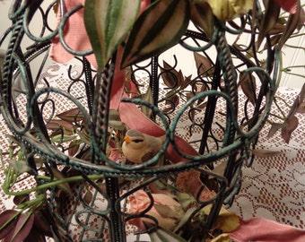 Vintage Green Metal Birdcage - Decorated Metal Birdcage  -  16-451