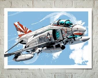 Airplane - F-4 Phantom - Airplane Decor, vintage fighter jet, Art Print, Air Force, Military Gift, Aviation, Airplane Nursery, Pilot gift,