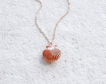 Rose Gold Seashell Locket Necklace, Sea Shell Locket Necklace, Mermaid Locket, Beach Wedding Jewelry, Rose Gold Jewelry, Valentines day gift