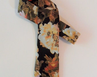 Dark Floral Skinny Tie // Abstract, Rayon & Silk Necktie