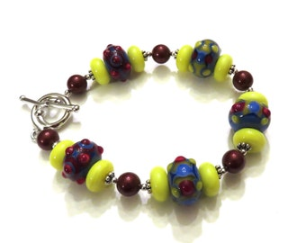 Red Yellow & Blue Lampwork Bracelet With Red Swarovski Pearls, Pearl Bracelet, Red Bracelet, Yellow Bracelet, Blue Bracelet