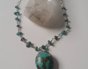 Turquoise Crystal Quartz Sterling Necklace