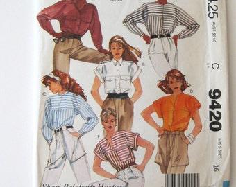 1980s Shirt Pattern McCalls 9420 Womens Button Front Yoked Blouse Sewing Pattern Kimono Sleeves Shari Belafonte Harper Size 16 Bust 38 UNCUT