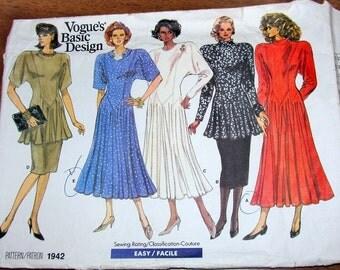 Vogue Basic Design 1942 Tunic Top, Dress, Skirt Womens Misses Vintage 1980s Sewing Pattern Size 14 16 18 Bust 36 38 40 Uncut Factory Folds