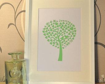 Wedding tree paper cut personalised laser cut