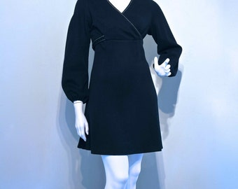 RESERVED Vintage 1960s BIBA STYLE Jersey Mini Dress with Balloon Sleeves // Empire line fit // Cross Over Front
