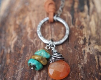 "Gypsy necklace **ON SALE** Sterling Silver, fine Silver, Orange Aventurine, turquoise, faux suede - Boho - 29"" long - Animal friendly"