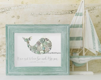 Cute Nursery Whale Nautical Nursery Art Gender Neutral Baby Shower Gifts If You Want to Know How Much we Love You Count All the Waves Sea