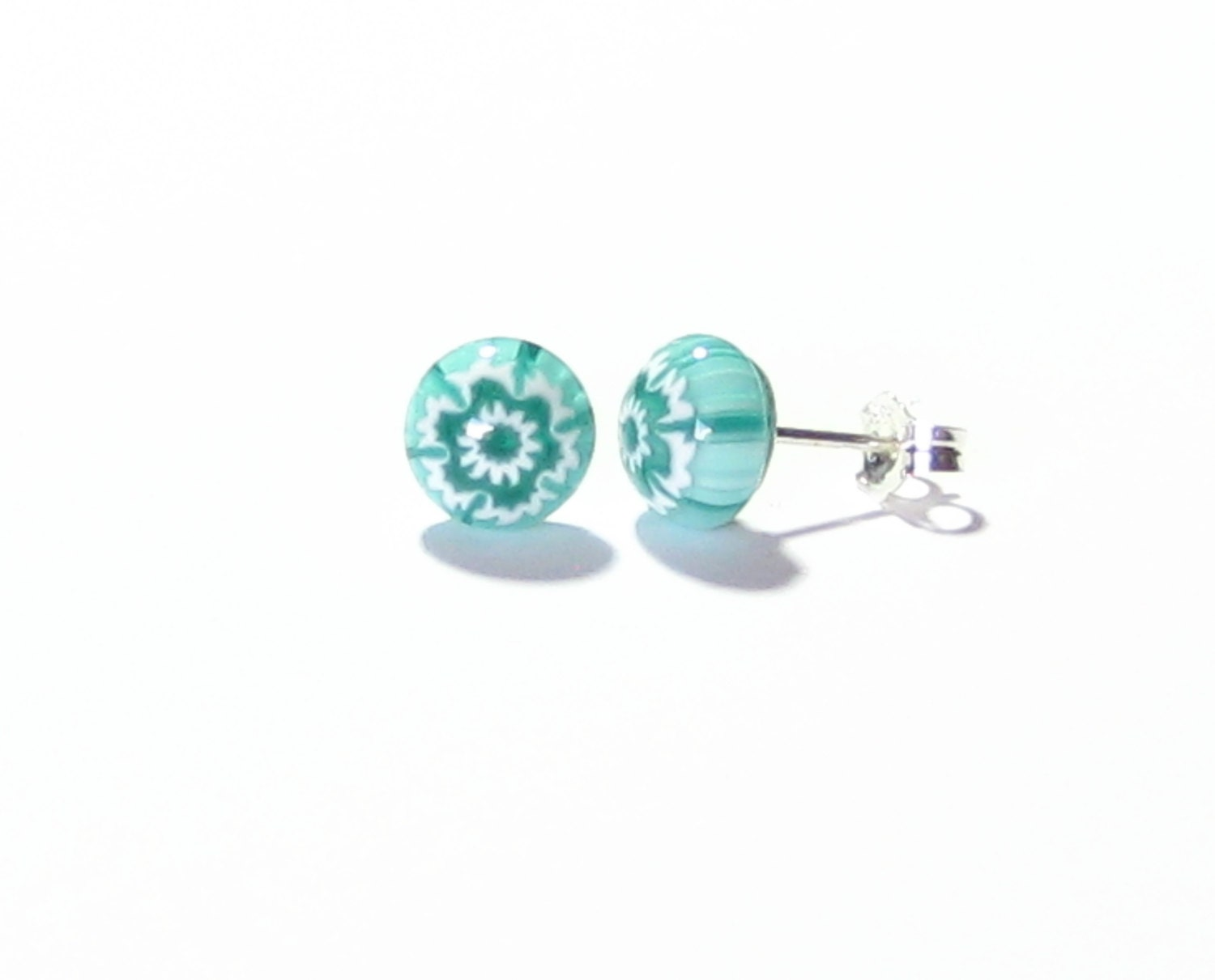 murano post earrings sea green stud earrings button by