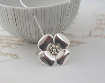 Silver Rose Necklace-Flower Necklace-Tudor Rose Necklace-Botanical Necklace-Floral Necklace