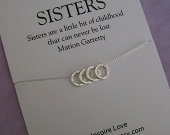 4 SISTERS Necklace.  Sister Necklace. Sister Gift. Maid of Honor Sister. Sisters. Necklace for sissters. Sister Necklacess. 4 Sisters