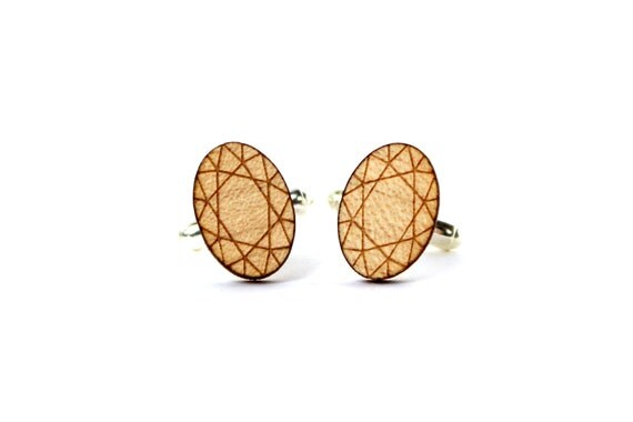 Oval diamond cufflinks - fake precious stone cuff links - wedding accessory - lasercut maple wood - groom jewelry - best man jewellery - men