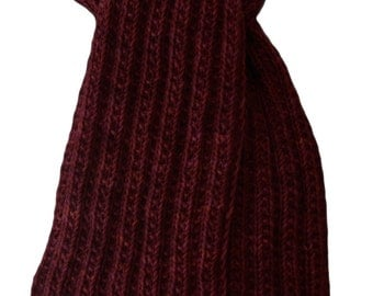 Hand Knit Scarf - Cranberry Red Keji Cashmere Trail Rib
