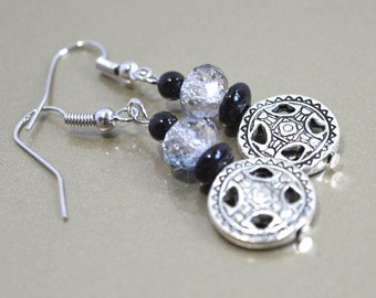 Celtic Style Dangle Earrings: Gothic Earrings with Silver Celtic Symbol Dangles, Nickle-Free Earwires, Handmade in the USA, Ready to Ship