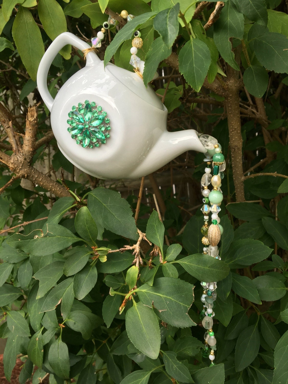 Tea pot garden art hanging tea pot ornament repurposed for Hanging garden ornaments