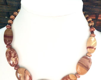 Jasper necklace - Rust Jasper necklace - Striped Jasper necklace - natural stone necklace - chunky jasper necklace - free shipping