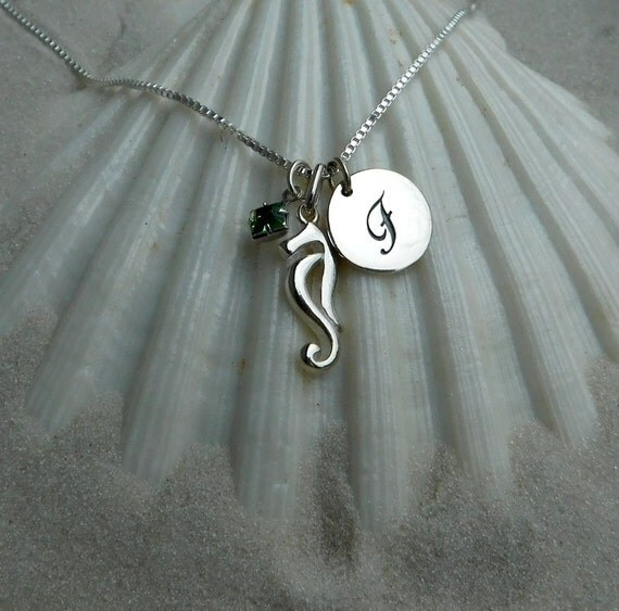 Sterling silver seahorse necklace, birthstone necklace, ocean theme jewelry, personalized jewelry, wedding jewelry