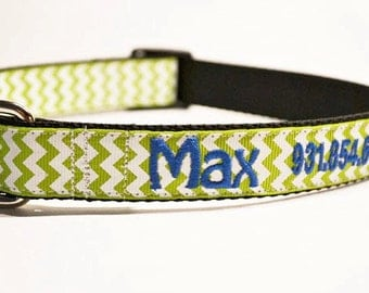 Personalized Dog Collar - 1 inch wide - Green Chevron - made to order
