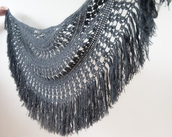 Vintage Hand Made Half Circle Black Lead Large Crochet Shawl Long Fringes Cobweb Scarf Warmer Cover Up Gypsy Boho Hippie Festival